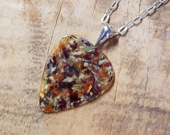 Wedding Memento or Funeral Memorial Keepsake made from your Dried Flower Petals or Pet fur - Clear GUITAR PICK Pendant or Necklace