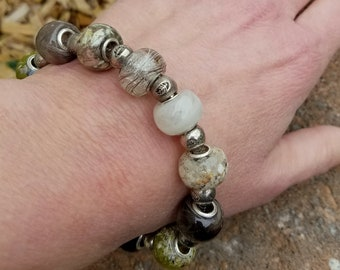Wedding Memento or Memorial Keepsake made from your Dried Flower Petals or Pet fur - FULL EUROPEAN BEAD Snake Bracelet - Silver Toned