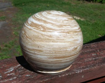 Cremation Urn - Stoneware Cremains Jar - READY to SHIP - GLOBE - Up to 80 lbs