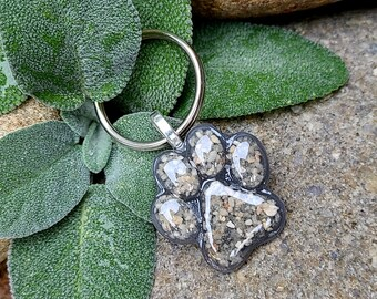 PAW - KEY RING Memorial Pet Keepsake made from your your Dried Flowers, Pet's fur or Cremains - Little Paw