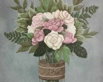 Custom Handmade Original Hanging Wedding Memento or Memorial Keepsake Wall Art - Acrylic Painting on Canvas - Full BRIDAL FLOWER BOUQUET