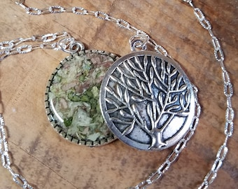 Wedding Memento or Funeral Memorial Keepsake made from your Dried Flower Petals or Pet Fur - Double Sided TREE OF LIFE Pendant or Necklace