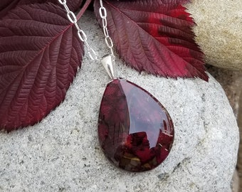 PENDANT Necklace made from your preserved Wedding or Memorial Flowers or Pet Cremains Fur  Custom Bridal or Funeral Keepsake  FULL TEARDROP