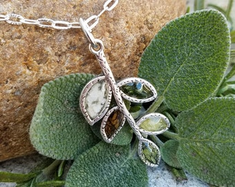 PENDANT Necklace Charm made from your preserved Wedding Memorial Flowers or Pet Cremains or Fur  Custom Bridal or Funeral Keepsake  BRANCH