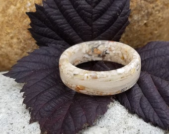 WIDE RING BAND made from your preserved Wedding or Memorial Flowers or Pet Cremains or Fur  Custom Bridal or Funeral Keepsake - Men's