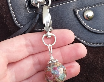 Custom Wedding Memento or Memorial Keepsake made from your Dried Flower Petals or Pet fur - ROUND BEAD - Purse Charm
