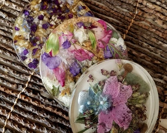 COASTER made from your preserved Wedding or Memorial Flowers  Custom Bridal or Funeral Keepsake