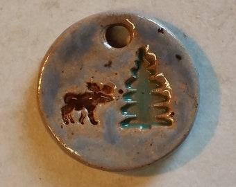 Pottery Pet Cremains Motif Pendant, Necklace, Key Chain or Mini Ornament - Custom Memorial Pet Cremation Keepsake - MOOSE SCENE