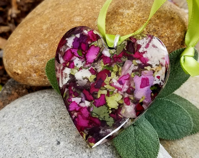 Featured listing image: Ornament made from your preserved Wedding or Memorial Flowers or Pet Cremains or Fur Custom Bridal or Funeral Keepsake HEART