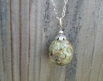 PENDANT Necklace or Charm made from your preserved Wedding or Memorial Flowers  Pet Cremains or Fur  Custom Bridal or Funeral Keepsake  EGG