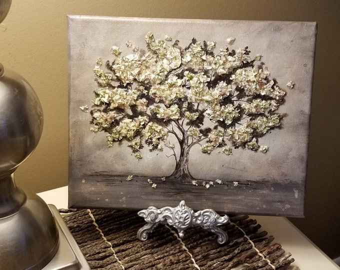 Featured listing image: Custom Wedding / Funeral Memorial Keepsake made from your Flower Petals - 3D Flower Flake & Painting Canvas Wall Art - BLOOMING OAK