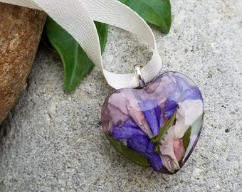 Ornament made from your preserved Wedding or Memorial Flowers or Pet Cremains or Fur Custom Bridal or Funeral Keepsake MINI HEART