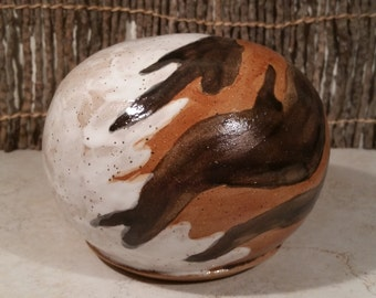 Cremation Urn - Stoneware Cremains Jar - READY to SHIP - Fur Pattern TERRA - Up To 36 lb