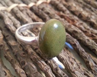 Memorial Small Oval Cabochon Ring - Custom Keepsake Stoneware Pottery Pet Cremains Cabochon on Adjustable Sterling Silver Ring - PANGAEA