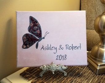 3D Canvas Flower Keepsake - made from your preserved Wedding or Memorial Petals  Custom Bridal or Funeral Wall Art -  FILIGREE BUTTERFLY