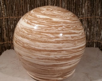 Cremation Urn - Stoneware Cremains Jar - READY to SHIP - GLOBE - Up to 84 lb