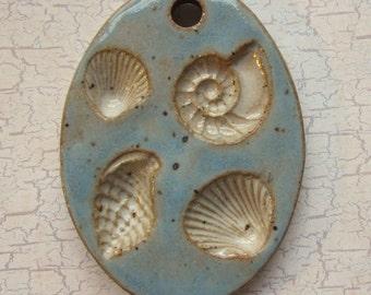 Large Glazed Pottery Pet Cremains Motif Pendant or Ornament - Custom Memorial Pet Cremation Keepsake -  SEA SHELLS