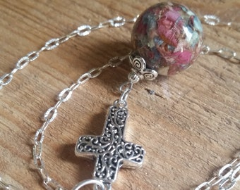 Wedding Memento or Funeral Memorial Keepsake made from your Dried Flower Petals or Pet fur - FILIGREE CROSS Pendant / Necklace