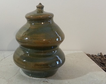 Cremation Urn - Stoneware Cremains Jar - READY to SHIP - MORAINE - Up to 40lb