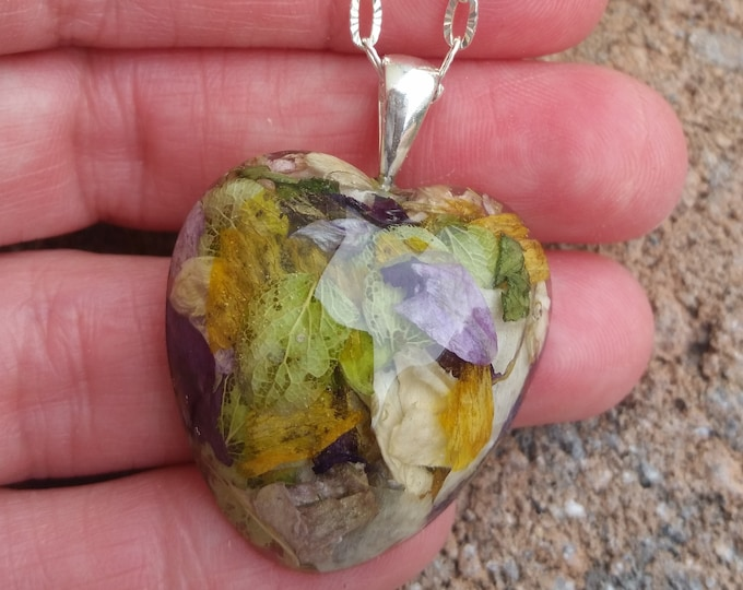 Featured listing image: Wedding Memento or Funeral Memorial Keepsake made from your Dried Flower Petals or Pet fur - CLASSIC HEART Pendant or Necklace