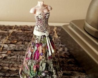 WEDDING DRESS Keepsake - made from your preserved Wedding  Memorial Flowers Pet Cremains or Fur  Custom Bridal or Funeral Keepsake - Bride