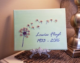3D Canvas Flower Keepsake - made from your preserved Wedding or Memorial Petals  Custom Bridal or Funeral Wall Art -  ON THE WIND