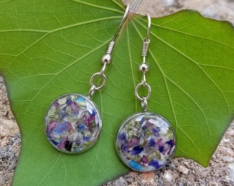 EARRINGS made from your preserved Wedding or Memorial Flowers or Pet Cremains or Fur  Custom Bridal or Funeral Keepsake   ISLET