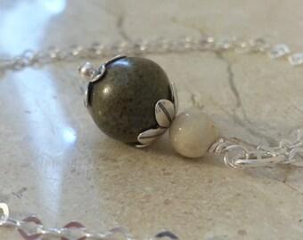 Memorial Bead Pendant or Necklace - Custom Keepsake Stoneware Pottery Pet Cremains Jewelry - FLORAL TIDE Drop Pendant