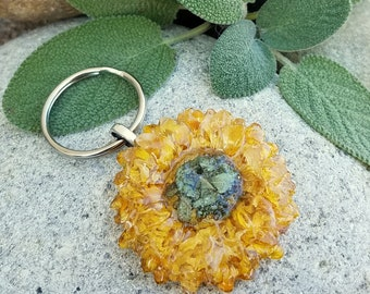 KEY RING made from your preserved Wedding or Memorial Flowers Pet Cremains or Fur Custom Bridal or Funeral Keepsake - SUNFLOWER