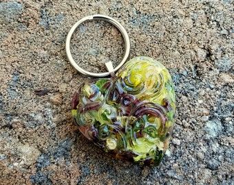 Wedding Memento or Funeral Memorial Keepsake made from your Dried Flower Petals or Pet fur  - Filligree Heart KEY RING