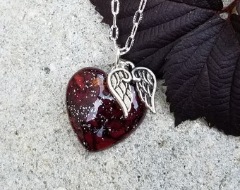 PENDANT Necklace Charm made from your preserved Wedding Memorial Flowers Pet Cremains Fur  Custom Bridal or Funeral Keepsake - HEART w/Charm