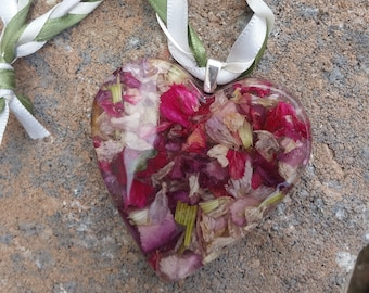 Wedding Memento or Memorial Keepsake Ornament made from your Flower Petals or Pet fur or Cremains - CLEAR HEART