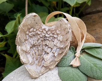 Ornament - Resting Angel Wings - made from your preserved Wedding or Memorial Flowers Pet Cremains or Fur Custom Bridal or Funeral Keepsake