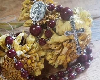 Wedding Memento or Funeral Memorial Keepsake Prayer Beads made from your Flower Petals or Pet fur or Cremains - FIVE (5) DECADE ROSARY