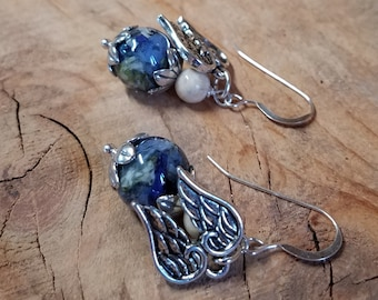 EARRINGS made from your preserved Wedding or Memorial Flowers or Pet Cremains or Fur  Custom Bridal or Funeral Keepsake   FLORAL TIDE