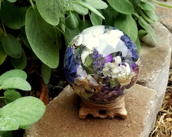 GLOBE with Stand made from your preserved Wedding or Memorial Flowers  Custom Bridal or Funeral Keepsake Sphere