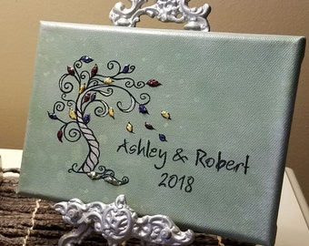 3D Canvas Flower Keepsake - made from your preserved Wedding or Memorial Petals  Custom Bridal or Funeral Wall Art -  GOSSAMER TREE