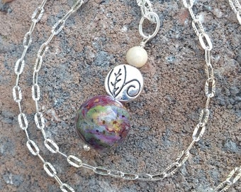 Wedding Memento or Funeral Memorial Keepsake made from your Flower Petals or Pet fur or Cremains - GREENS-LEAVES Drop Pendant or Necklace