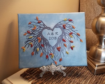 3D Canvas Flower Keepsake - made from your preserved Wedding or Memorial Petals  Custom Bridal or Funeral Wall Art -  PRIMITIVE HEART
