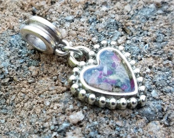 CHARM or PENDANT made from your preserved Wedding or Memorial Flowers Pet Cremains or Fur Custom Bridal or Funeral Keepsake HEART