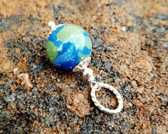 Wedding Memento or Memorial Keepsake made from your Flower Petals or Pet Cremains - For Add a Charm Bracelets - ROUND BEAD CHARM - Earth