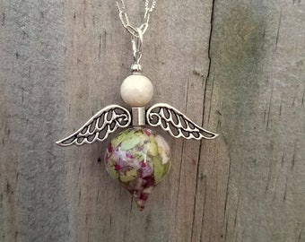 Custom Wedding Memento or Funeral Memorial Keepsake made from your Dried Flower Petals or Pet fur - ANGEL WINGS Pendant. Necklace, Charm