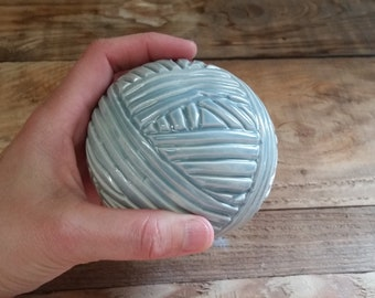 Cremation Urn - Stoneware Cremains Jar - READY to SHIP - Yarn Ball - Up to 8 lbs