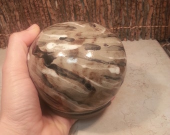 Cremation Urn - Stoneware Cremains Jar - READY to SHIP - Fur Pattern GLOBE - Up To 20 lb