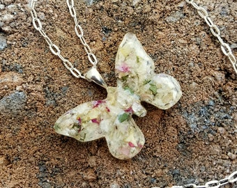 Wedding Memento or Funeral Memorial Keepsake made from your Dried Flower Petals or Pet fur - LARGE BUTTERFLY Pendant or Necklace