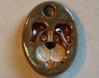 Pottery Pet Cremains Motif Pendant, Necklace, Key Chain or Mini Ornament - Custom Memorial Pet Cremation Keepsake - HOUND DOG
