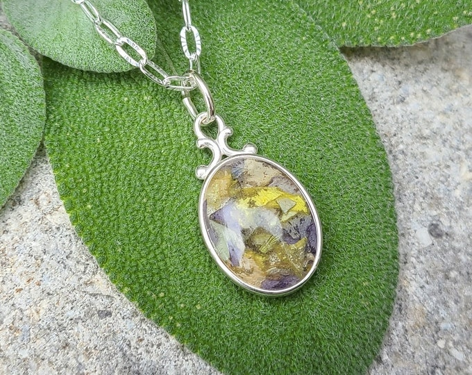 Featured listing image: PENDANT Necklace Charm made from your preserved Wedding or Memorial Flowers  Pet Cremains or Fur Custom Bridal or Funeral Keepsake  BONNY