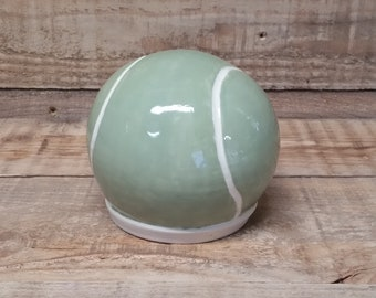 Cremation Urn - Stoneware Cremains Jar - READY to SHIP - Tennis Ball -Up to 44 lbs
