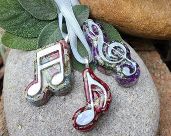 MUSIC NOTE Ornament made from your preserved Wedding or Memorial Flowers Pet Cremains or Fur Custom Bridal  Funeral Keepsake - Choose Style