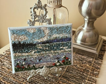 Canvas FULL Flower Keepsake Painting made from your preserved Wedding or Memorial Petals  Custom Bridal Funeral Wall Art - BEACH